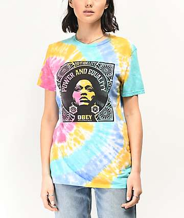 Obey Power Equality Tie Dye Boyfriend T-Shirt