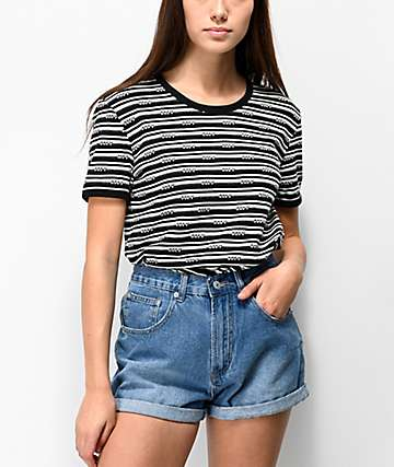 Obey Pratt Black & White Striped T-Shirt