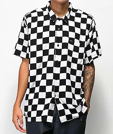 Obey Prospect camisa tejida a cuadros en blanco y negro