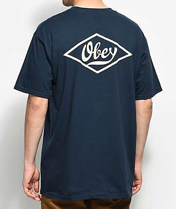 Obey Proto Script 2 camiseta en azul marino