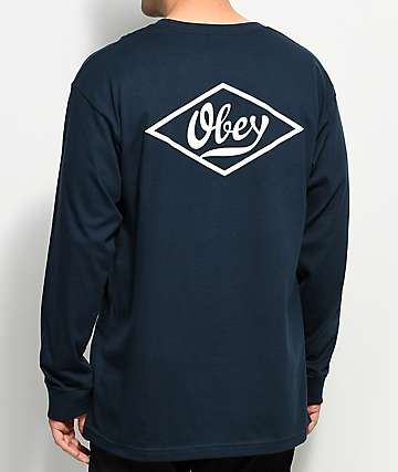 Obey Proto Script Navy & White Long Sleeve T-Shirt