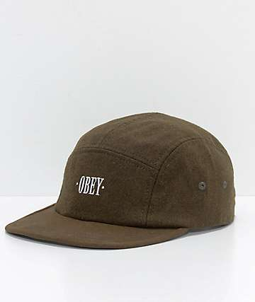 Obey Reprise gorra de 5 paneles en verde de ejército