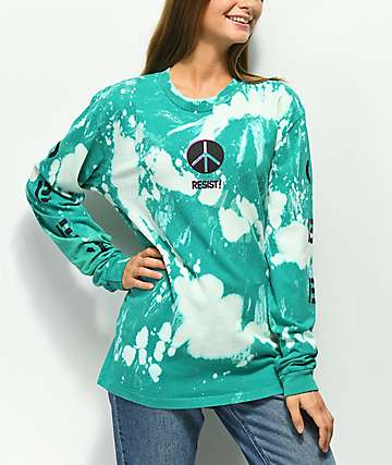 Obey Resist Box Bleached Teal Long Sleeve T-Shirt