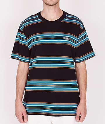 Obey Route Black Stripe T-Shirt