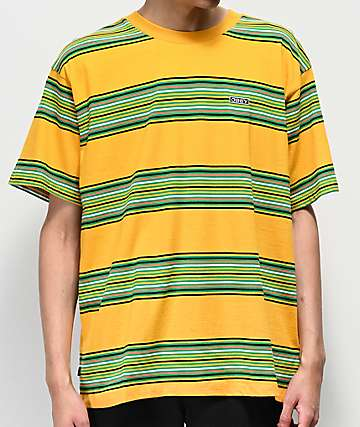 00ed55eaeb8c Obey Route Yellow & Green Striped T-Shirt