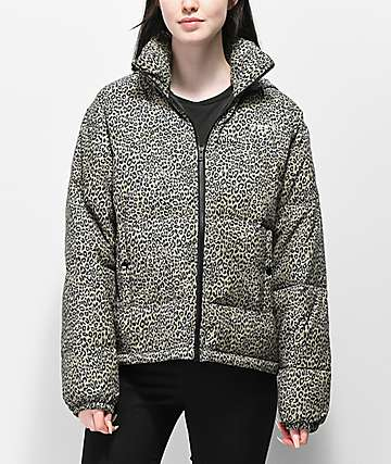 Obey Ruby Leopard Print Khaki Puffer Jacket