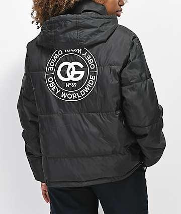 Obey Ruby chaqueta negra aislada