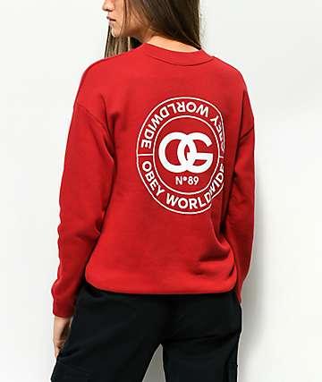Obey Rue De La Ruine Delancey Red Crew Neck Sweatshirt