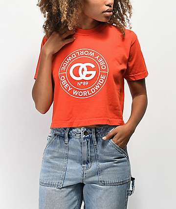 Obey Rue De La Ruine Orange Crop T-Shirt
