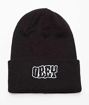 Obey Running Black Beanie