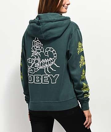 Obey Scorpion Rose sudadera con capucha verde