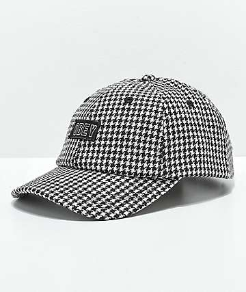 Obey Scotty Black Herringbone Strapback Hat