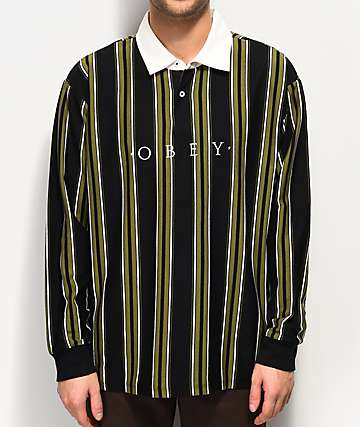 Obey Script Black Long Sleeve Polo Shirt