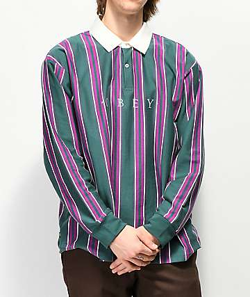 Obey Script Dark Teal Long Sleeve Polo Shirt