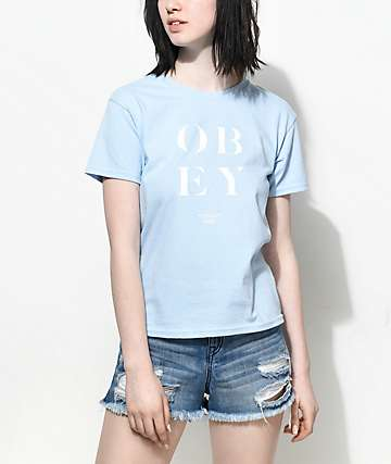 Obey See Clearly Shrunken Blue T-Shirt