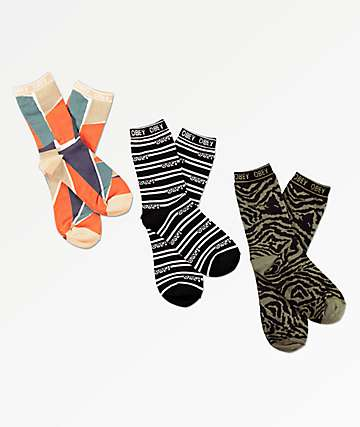 Obey Sherman 3 Pack Crew Socks