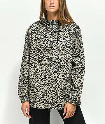 Obey Sienna Khaki Leopard Print Anorak Jacket