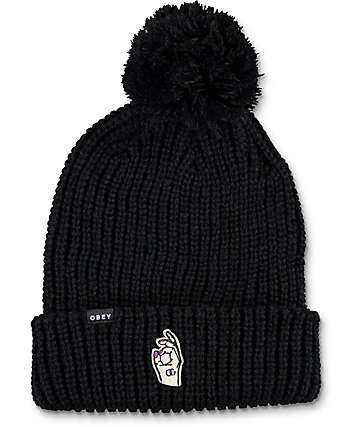 Obey Signing Off Black Pom Beanie