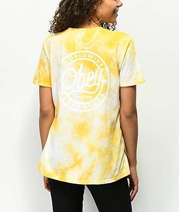 Obey Since 89 Class camiseta amarilla con efecto tie dye