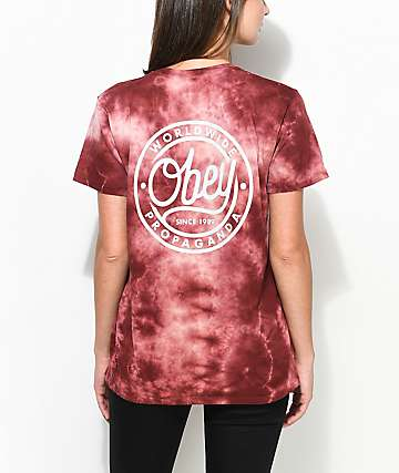 Obey Since 89 camiseta en color borgoño con efecto tie dye