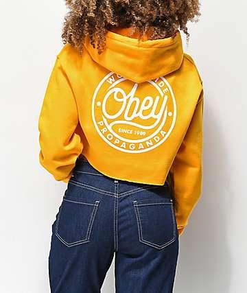 Obey Since 89 sudadera corta con capucha dorada