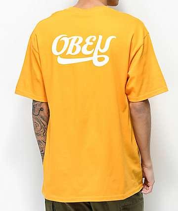 Obey Skewed Script Yellow T-Shirt