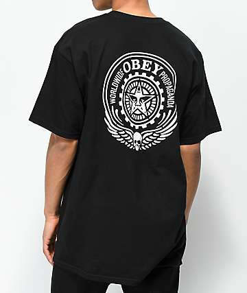 Obey Skull & Eyes Black & White T-Shirt