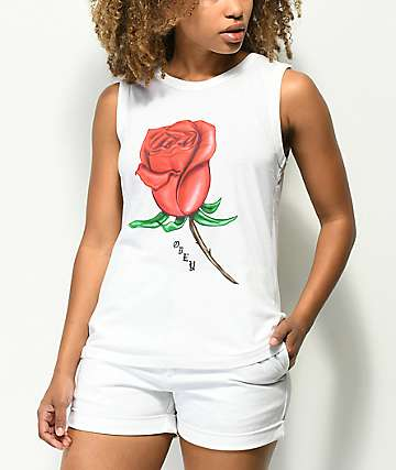 Obey Slauson Rose 2 White Moto Tank Top
