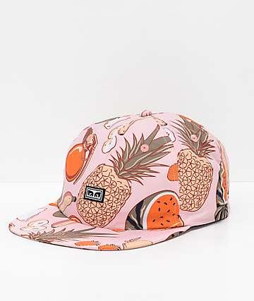 Obey Songbird gorra rosa con estampado de frutas