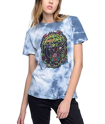 Obey Space And Time camiseta azul con efecto tie dye