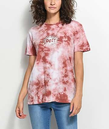 Obey Spazz camiseta con efecto tie dye en rosa