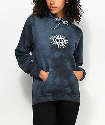 Obey Spazz sudadera con capucha y efecto tie dye en azul