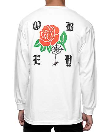 Obey Spider Rose camiseta blanca de manga larga