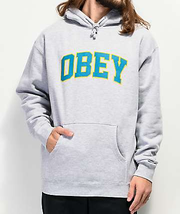 Obey Sports Grey, Teal & Gold Hoodie