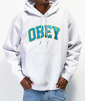 Obey Sports Grey & Teal Hoodie