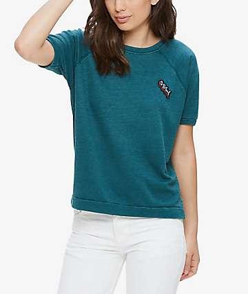 Obey Starlight Teal Crew Neck Short Sleeve Sweatshirt