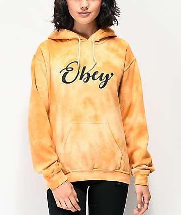 Obey Starry Script Gold Tie Dye Hoodie