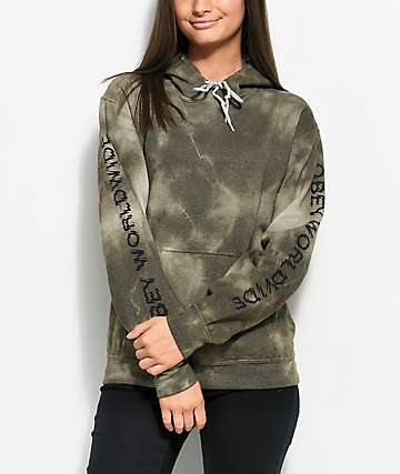 Obey Static Worldwide Green Tie Dye Hoodie