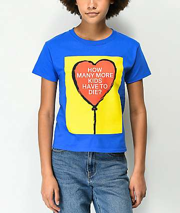 Obey Stop The Violence How Many More Blue Shrunken T-Shirt