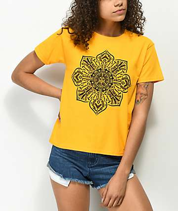 Obey Stop The Violence Mandala Gold Shrunken T-Shirt