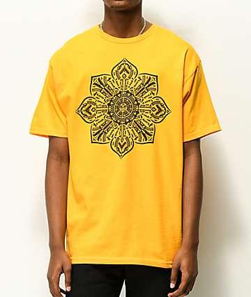 Obey Stop The Violence Mandala Gold T-Shirt