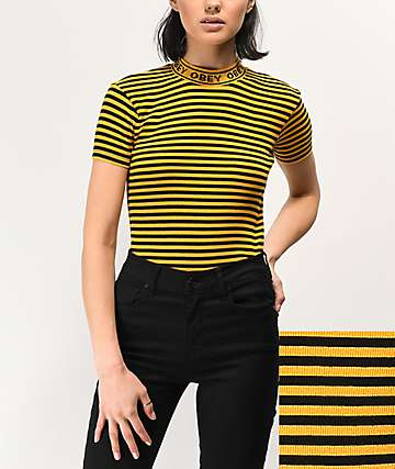 Obey Stripe Mock Neck Gold & Black T-Shirt