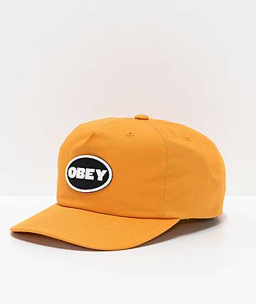 new style 82933 d7f38 Obey Struggler Mineral Yellow Strapback Hat
