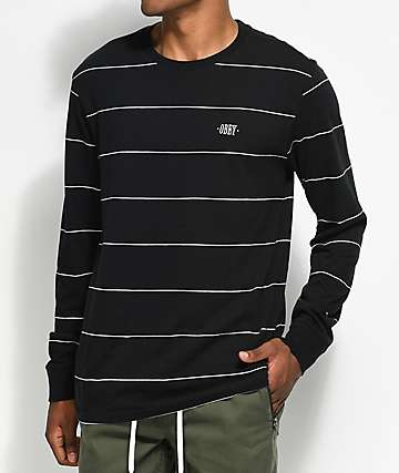 Obey Sutton camiseta a rayas de manga larga en negro