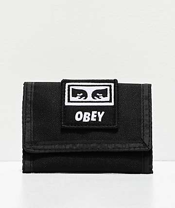 Obey Takeover Black Trifold Wallet