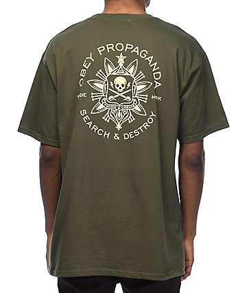 Obey Think & Create camiseta en color verde olivo