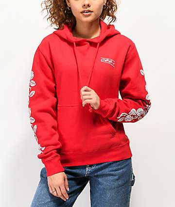 Obey Thorns Red Rose Hoodie