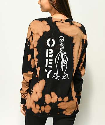 Obey Till Death Bleached Black Long Sleeve T-Shirt