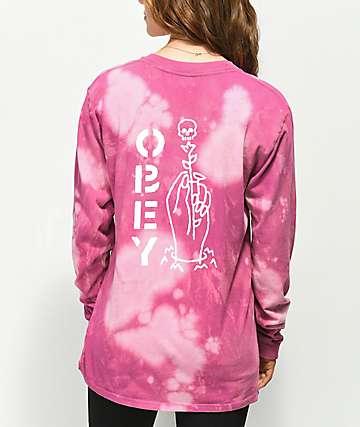 Obey Till Death camiseta de manga larga rosa blanqueada