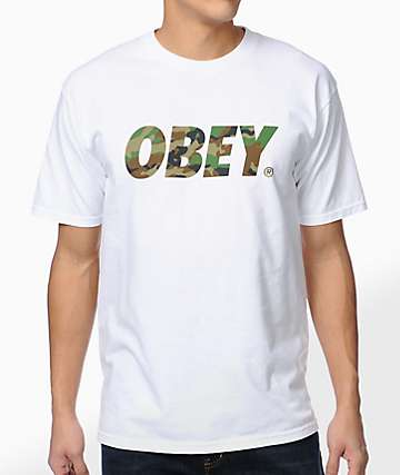 Obey Traditional Font Camo White T-Shirt 79ff71357